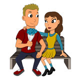 Young couple on a date cartoon Stock Photo