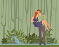 Young couple on a date in jungle forest or park. Man carrying woman in his arms. Vector Illustration. vector illustration
