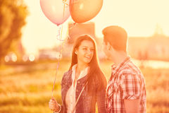Young couple on date, outdoor Stock Images