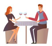 Young couple on a date at the restaurant. Man and woman drink wine at a romantic dinner. Vector Illustration, stock illustration