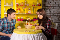 Young Couple Dating at the Cafe Stock Photos