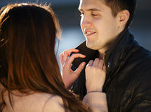 Young couple dating in the city park Stock Photography