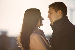 Young couple dating in the city park Stock Images