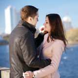 Young couple dating in the city park Royalty Free Stock Photo