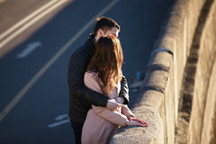 Young couple dating in the city park Stock Photo
