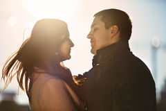 Young couple dating in the city park Royalty Free Stock Photography