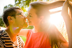 Young couple dating in nature Stock Image