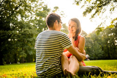 Young couple dating in nature Stock Images