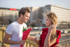 Young couple dating outdoor on sunny day. Outdoor stock photography