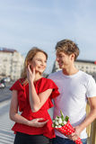 Young couple dating outdoor Royalty Free Stock Images