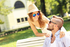 Young couple dating in the park Stock Photos