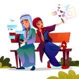 Arabian couple dating with smartphones vector illustration stock illustration