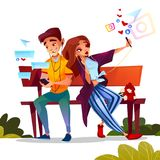 Couple dating with smartphones vector illustration stock illustration