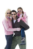 Young couple and daughter, man carrying daughter on back, smiling, portrait, cut out Stock Photos