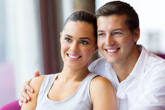 Young couple daydreaming royalty free stock image