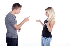 Young couple at the debate Royalty Free Stock Photo