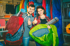 Young couple demonstrating tourist equipment Stock Photo
