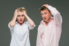 The young couple with different emotions during conflict Royalty Free Stock Photography