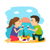 Young couple dining at beach. Beach summer. Young couple having dinner on beach at sunset background vector illustration Royalty Free Stock Photo