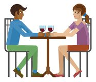 Young Couple Dinner Wine Restaurant Cartoon. Young couple or friends drinking wine at a restaurant or cafe table cartoon royalty free illustration