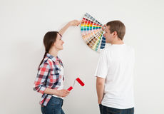 Young couple discussing a renovation of a home Royalty Free Stock Image