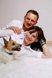 Young couple with dog Stock Image