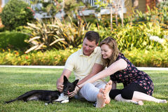 Young couple and dog Stock Image