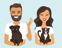 Young couple with dog and cat Stock Photos