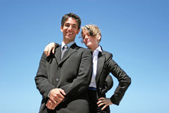 Young couple doing business. Young successful businessman and businesswoman as team Royalty Free Stock Image