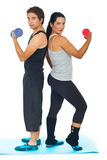 Young couple doing fitness exercises Stock Photo