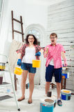 Young couple doing repair at home Royalty Free Stock Photography