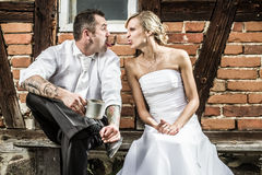 Young couple doing silly faces to each other Stock Photography