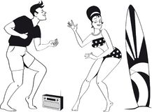 1960s beach scene. Young couple dressed in 1960s beach fashion dancing the Twist listening to a transistor radio, EPS 8 black vector silhouette, no white objects Vector Illustration