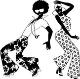 Soul dance. Young couple dressed in 1970s fashion dancing disco, EPS 8 black vector silhouette, no white objects Stock Photo