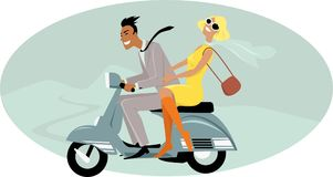 1960s couple riding a scooter vector illustration