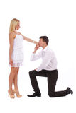 Young couple dressed in a white clothes Royalty Free Stock Photo