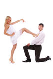 Young couple dressed in a white clothes Royalty Free Stock Photography