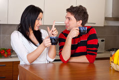 Young couple drink coffee and talking Royalty Free Stock Images