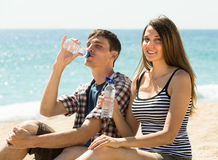 Young couple drink water Stock Image