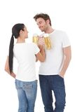 Young couple drinking beer having fun smiling Royalty Free Stock Photo