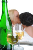 Young couple drinking champagne in bed Stock Photo