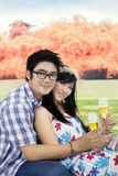 Young couple drinking champagne at the park Stock Images