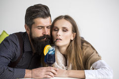 Young couple drinking cocktail Royalty Free Stock Photography