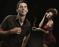 Young couple drinking coffee Stock Photo