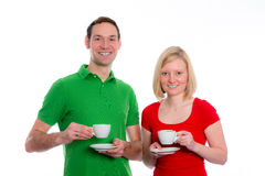 Young couple drinking coffee Stock Images