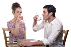 Young couple drinking a glass royalty free stock images