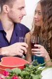 Young couple  drinking red wine Stock Photos