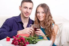 Young couple  drinking red wine Royalty Free Stock Photography