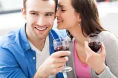 Young couple drinking wine Royalty Free Stock Photography