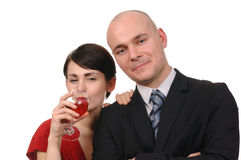 Young couple drinking red wine isolated. Stock Photography